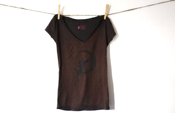 Black t-shirt with fairy silhouette sitting on the moon , copper painted