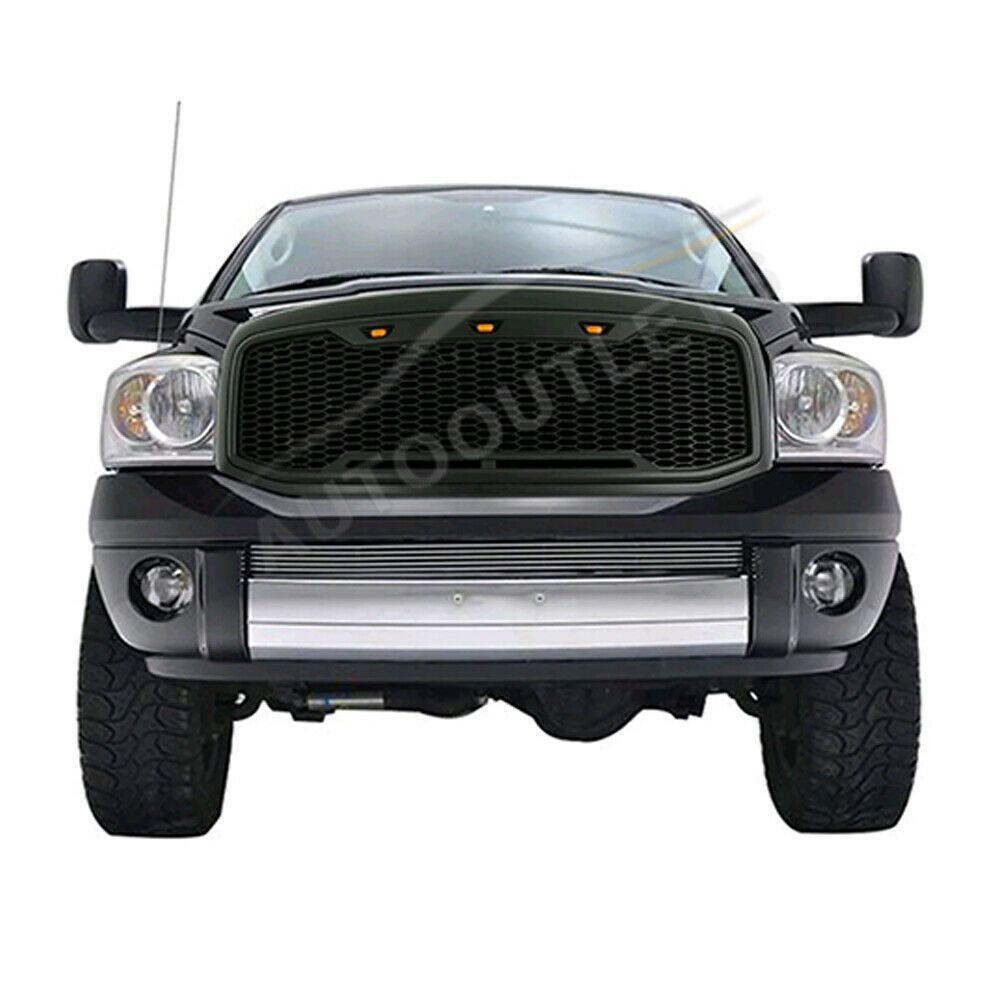 Sponsored Ebay Fit 13 17 Dodge Ram 1500 Upper Matte Black Front Grille W 3 Led Honeycomb Mesh Dodge Ram 1500 Ram 1500 Dodge Ram