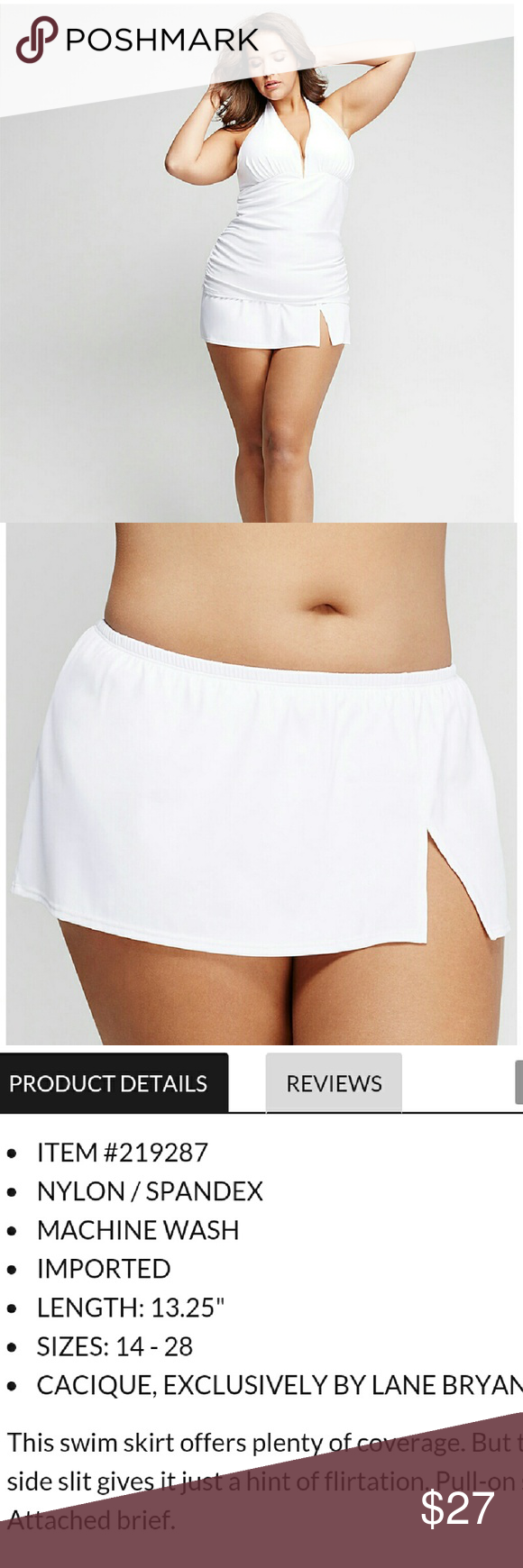 Lane Bryant Swim Skirt Slit 20 White New Full coverage  Attached brief Machine wash BOTTOM ONLY Lane Bryant Swim