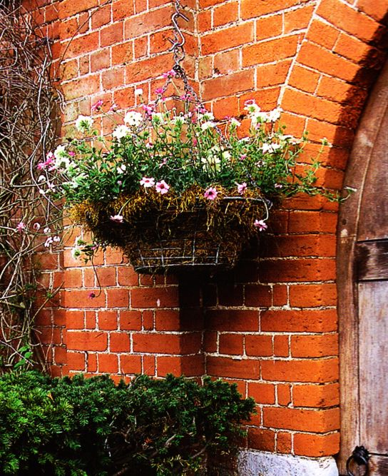 A Brick Wall Is Adorned With A Hanging Garden Planter Potted With Color Garden Planters Garden Planters Pots Hanging Garden