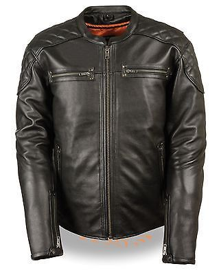 MEN'S MOTORCYCLE SCOOTER JACKET W/SIDE LACES QUILTED SHOULDER NAKED COW NEW