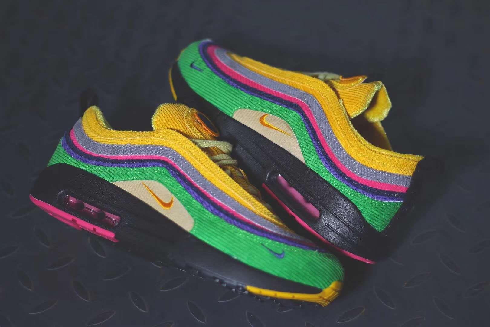 """Nike Air Max 97 """"Sunburst"""" BlackUniversity Gold Lucid Green For Sale"""