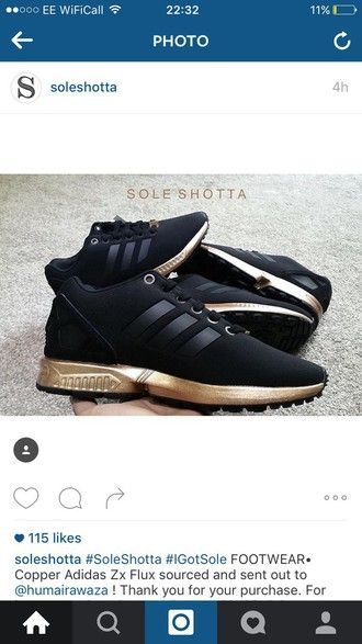 newest 363ae 1bcb9 shoes black rose gold gold trainers adidas adidas zx flux ...