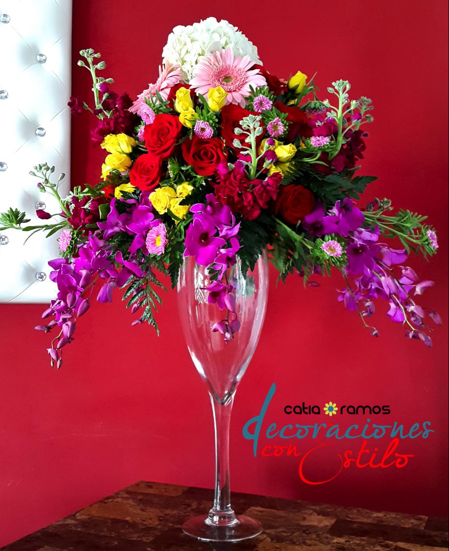 Centro De Mesa En Copa Alta Flores Naturales Y Artificiales  ~ Centros De Flores Naturales Para Mesas