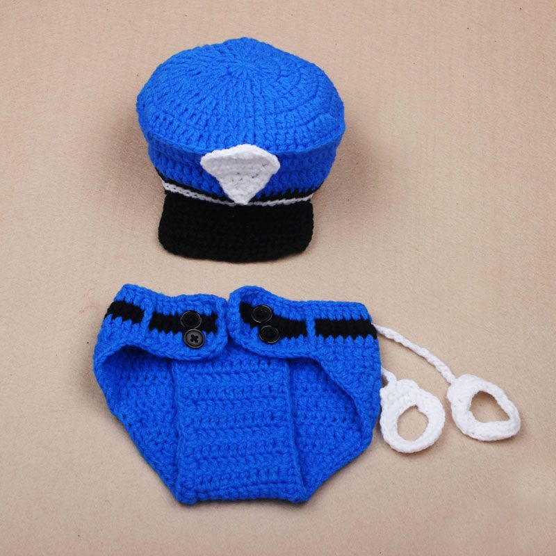 Newborn Police Design Photography Props Toddler Infant Costume Outfit Crochet
