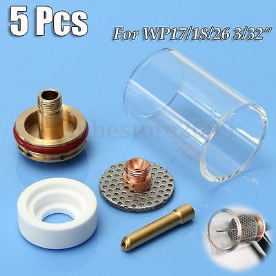 23 pcs TIG Welding Stubby Gas Lens #10 Pyrex Cup Kit  WP-17//18//26 Torch  3//32/""