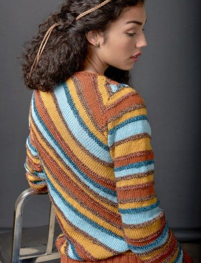 Free knitting pattern for Diagonal Stripes Pullover Sweater tba Sweater Kni...