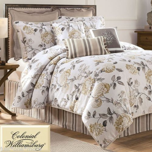 a waverly eve king comforter set with a gold and gray floral print on - Waverly Bedding