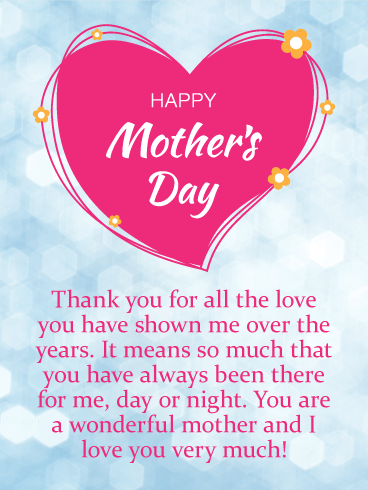 Thank You For Your Love Happy Mother S Day Card Birthday Greeting Cards By Davia Happy Mother Day Quotes Happy Mothers Day Wishes Mother Day Message