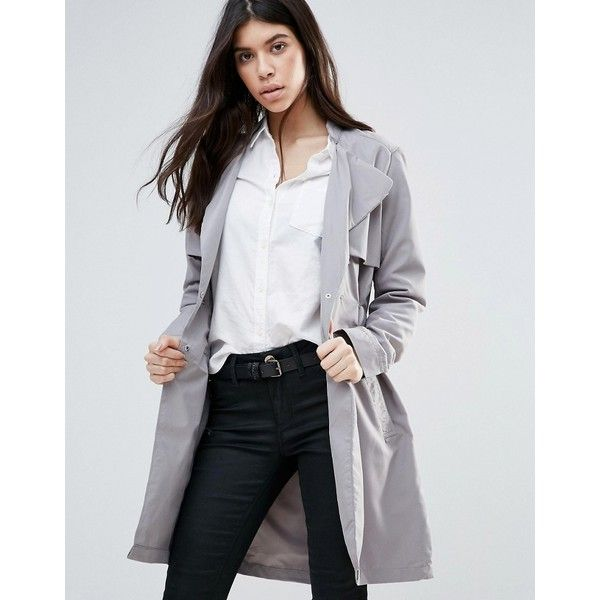 Brave Soul Belted Trench Coat ($45) ❤ liked on Polyvore featuring outerwear, coats, grey, double-breasted coat, trench coat, belted trench coat, tall trench coat and grey double breasted coat