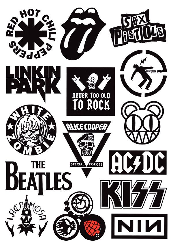 Rock band stickers a4 full page set