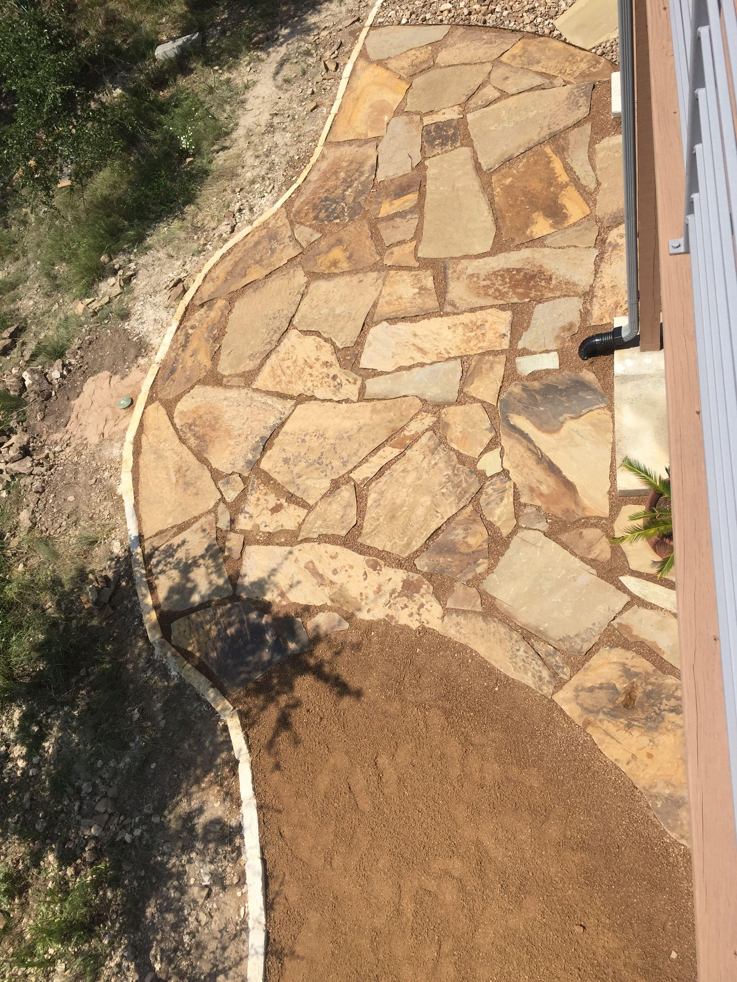 Mixed media flagstone patio completes the backyard | Patio ideas ...