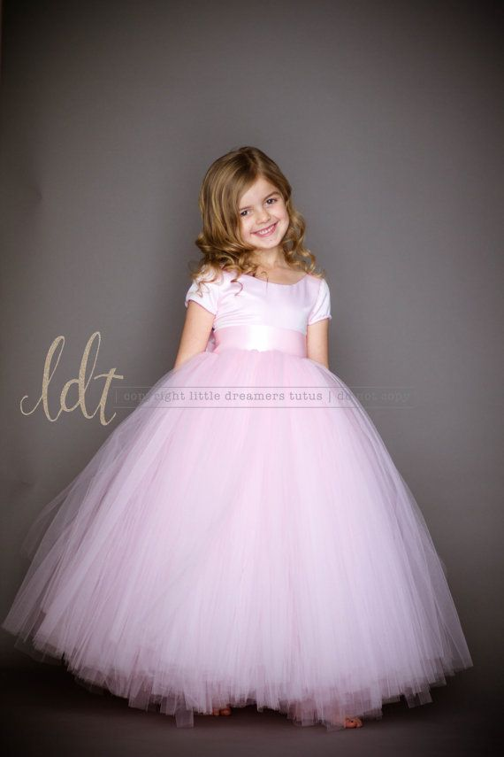 The Sophia Dress with Short Sleeves in Light Pink - Flower Girl Tutu ...
