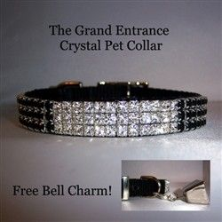 """The Grand Entrance Crystal Jeweled Pet Collar        This gorgeous and very unique crystal pet collar is made of black nylon and decorated with blocks of clear and jet black crystal. For those attention getting pooches who like to be the star of the party and make their """"Grand Entrance""""!         A very beautiful! and sparkly pet collar. A true attention getter!"""