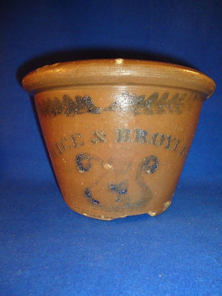 Rare Rice & Broyles, Lindside, West Virginia 1 Gallon Stoneware Bowl with Lire