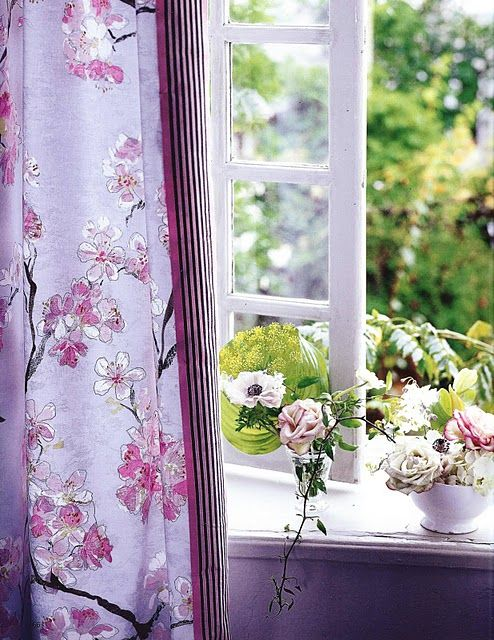 Designer S Guild Drapery Fabric In A Floral Lilac Designers Guild Fabrics And Wallpapers Can Be Purchased Through Www J Floral Curtains Lavender Cottage Lilac
