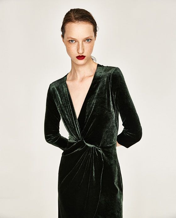 CROSSOVER VELVET DRESS from Zara $49.90 | Velvet dress