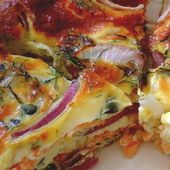 Red Onion, Caper, and Smoked Salmon Breakfast Bake Recipe: Smoked Salmon Breakfast Pie Recipe