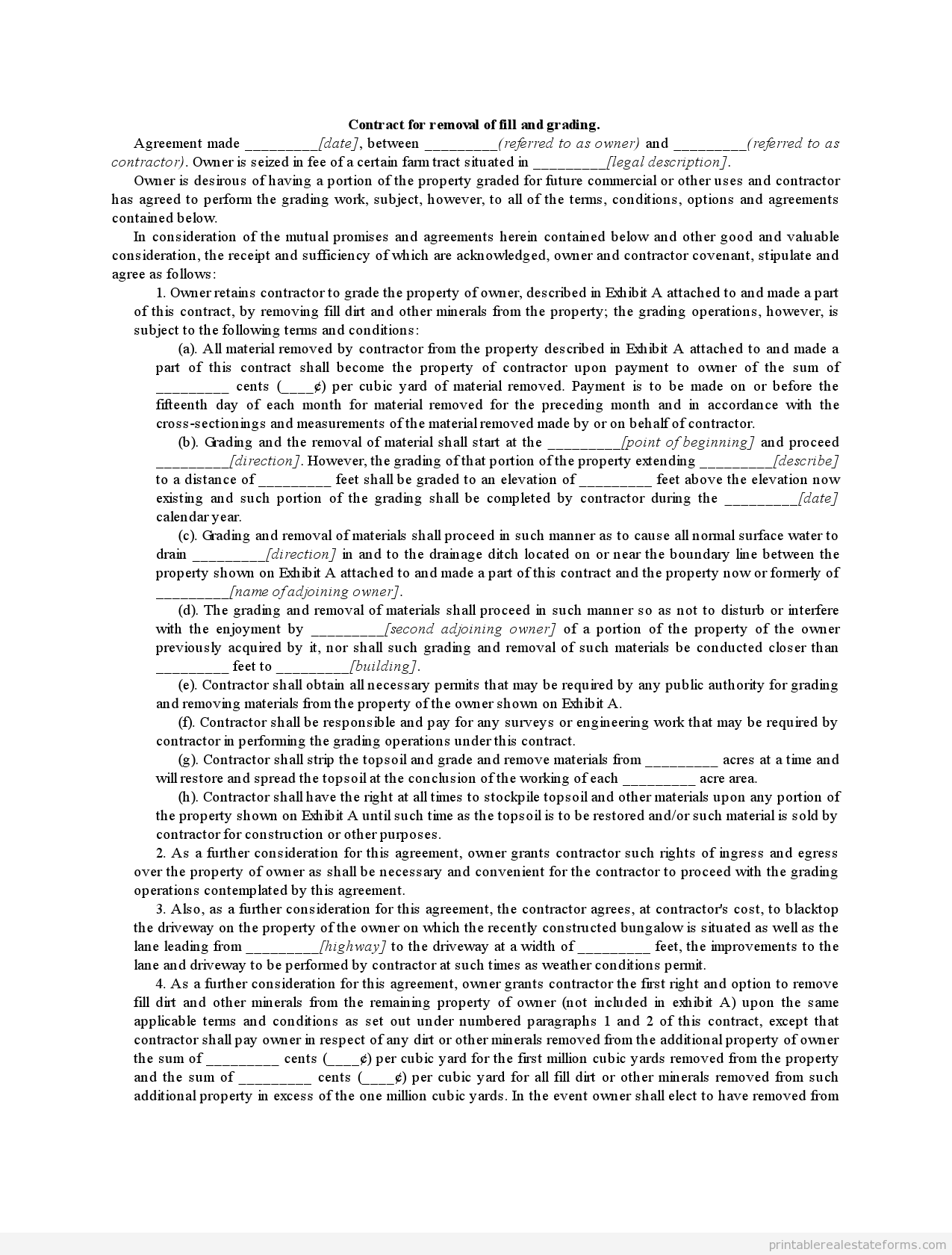 Sample Printable contract for removal of fill and grading Form – Snow Plowing Contract Template
