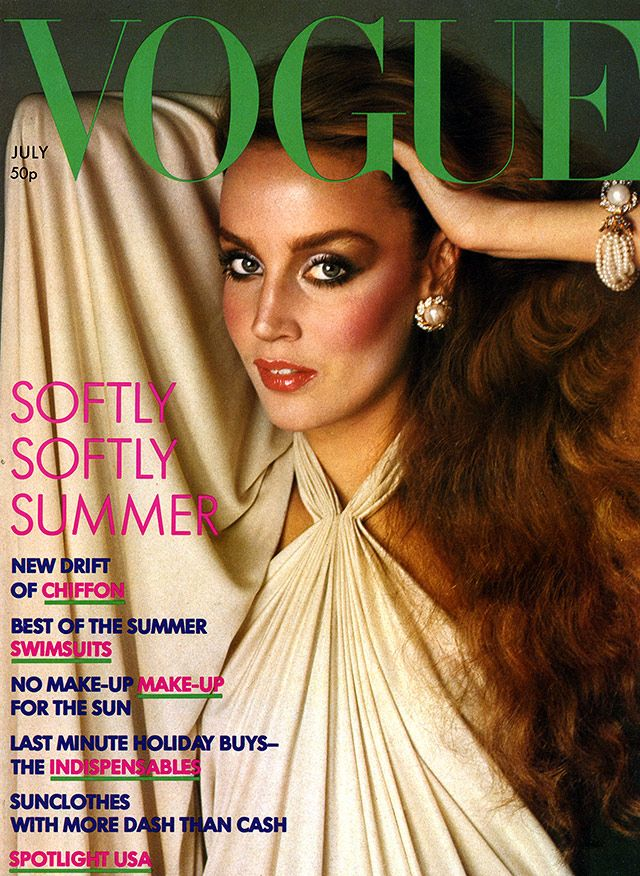 Jerry Hall wears Yuki on the cover of British Vogue, July 1976. Photo: Barry Lategan