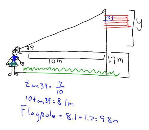 Using Trigonometry To Measure A Flagpole Trigonometry Math Geometry Teaching Geometry