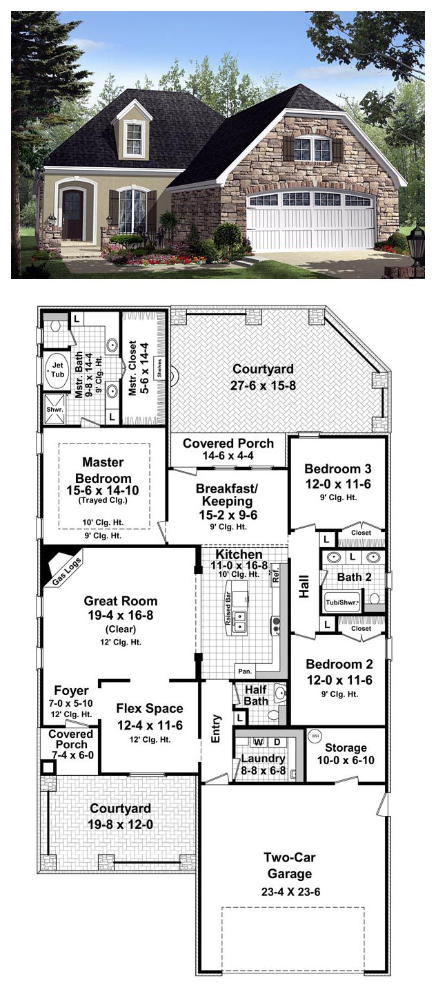 5 Bedroom House Plans 1 Story: Cottage Country European French Country