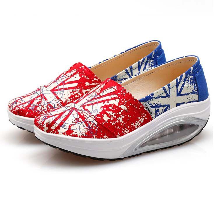 Red Art Print Slip On Rocker Bottom Shoe Sneaker Zapatos De Moda Zapatos Moda