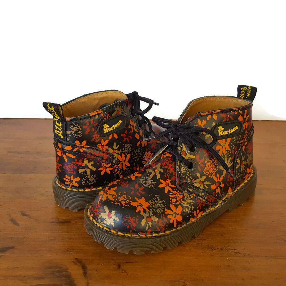 Ebay Sponsored Dr Doc Martens Floral Kids Girls 10 11 Ankle Boots Airwair Black Shoes England Boots Doc Martens Floral Doc Boots