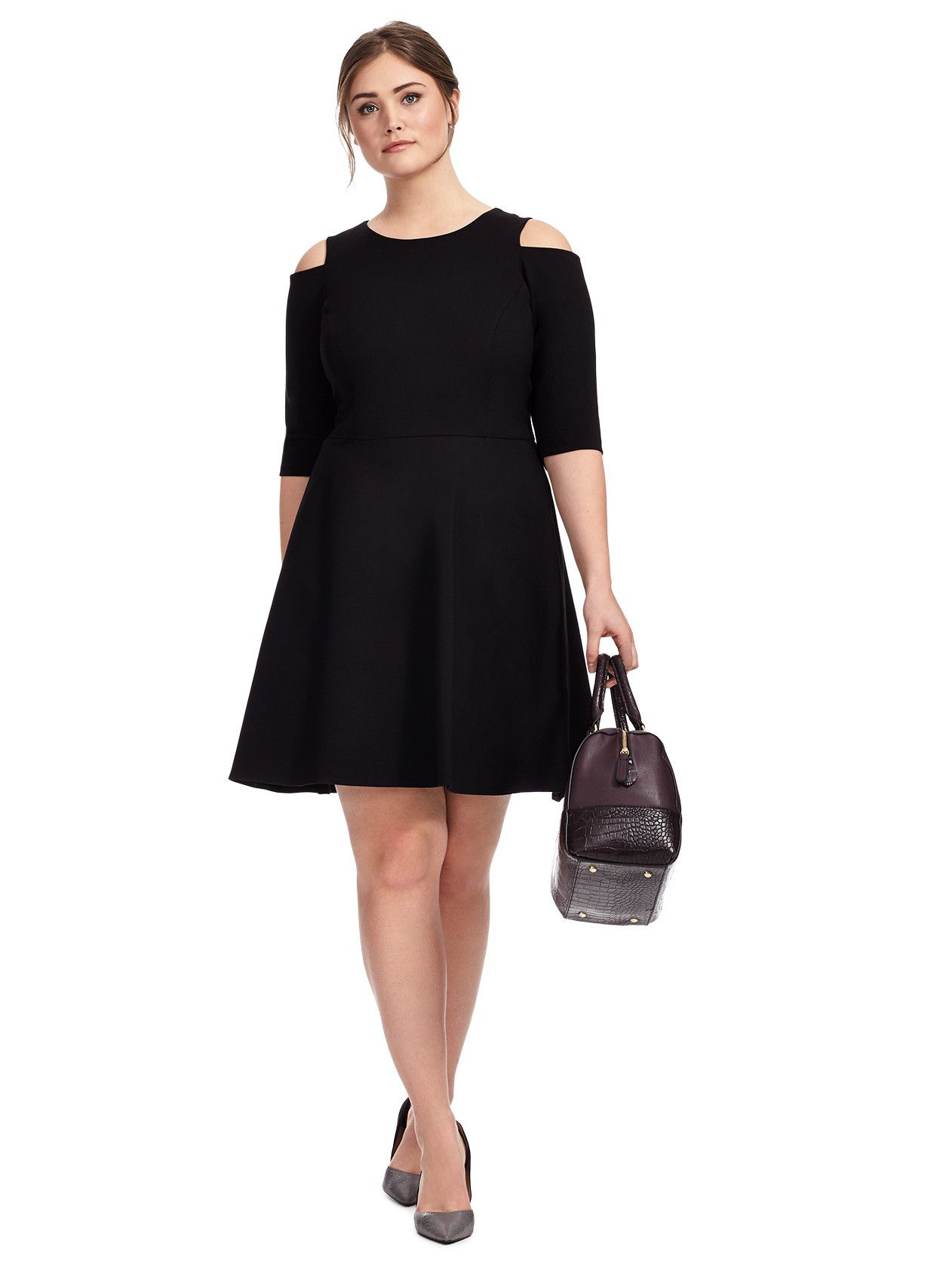 Cold shoulder fit flare dress in black stylish plus
