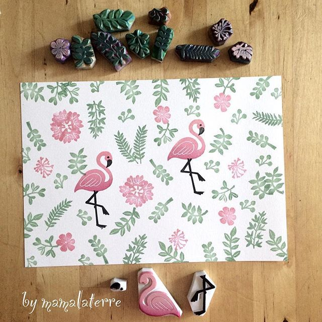 Love flamingo stamps  #handprinted #handicraft #handmade #hanko #hanco #bymamalaterre #hanco #rubberstamp #eraserstamp
