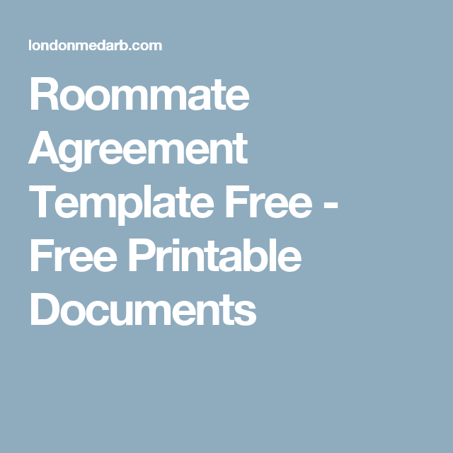Roommate Agreement Template Free - Free Printable Documents ...
