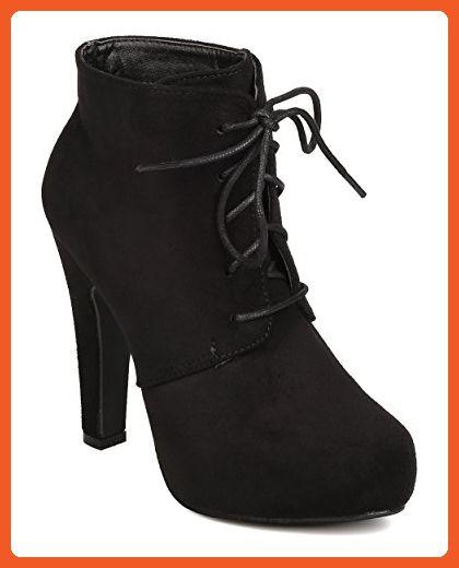 e01c30b7dc5dc DbDk FD37 Women Faux Suede Almond Toe Lace Up Platform Oxford Bootie ...