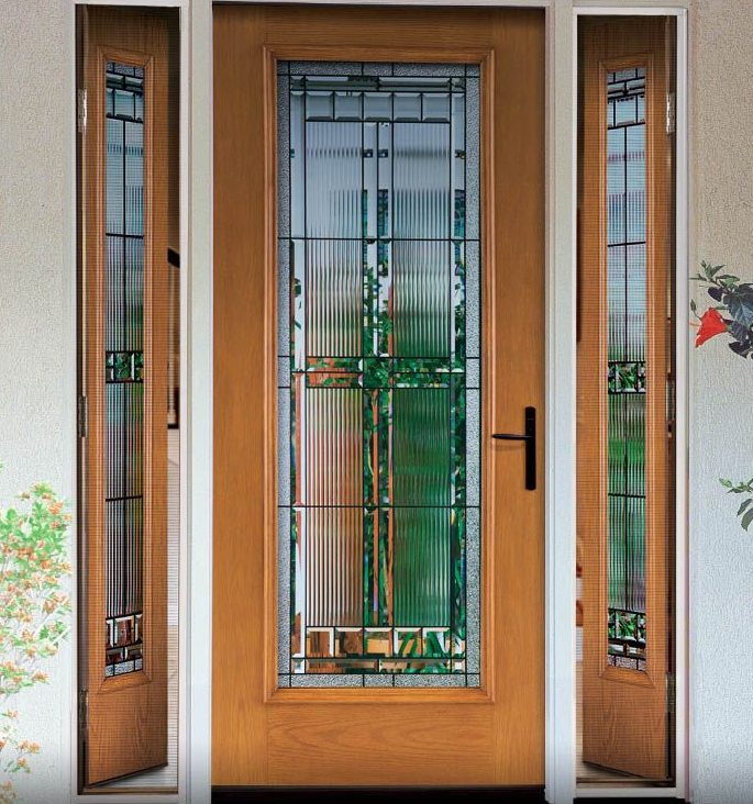Fiber Classic Oak Collection Fiberglass Door With Saratoga Decorative Glass And Vented Sidelites Entry Doors Entrance Door Decor Fiberglass Entry Doors