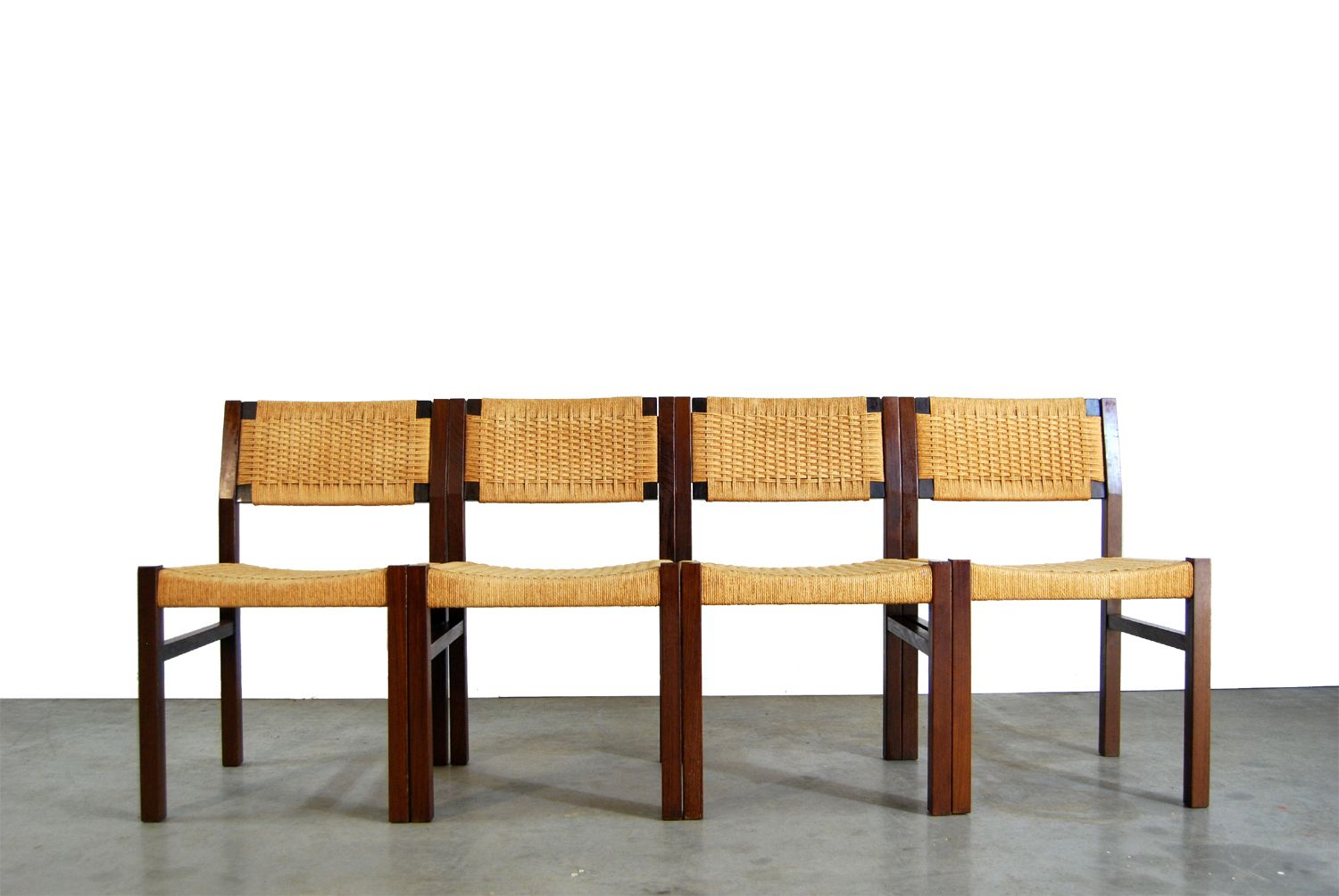 Dutch Wenge Reed Dining Chairs 1970s 2 Sets Of 4 Dining