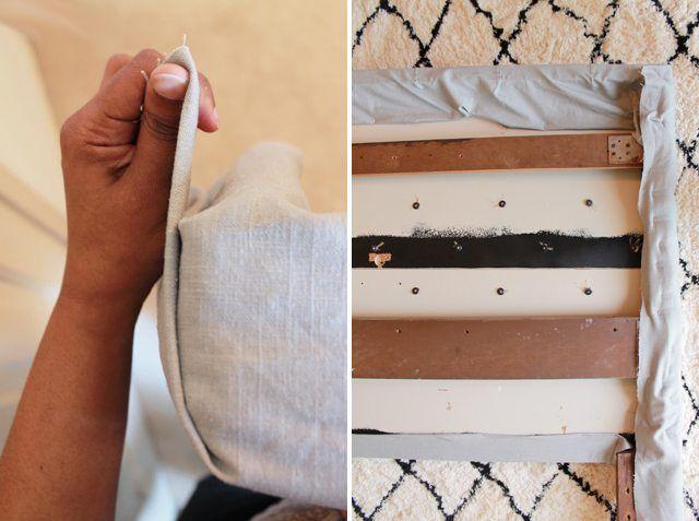 Como hacer cabeceros de cama sujetar tela final como - Cabeceros de cama de tela ...