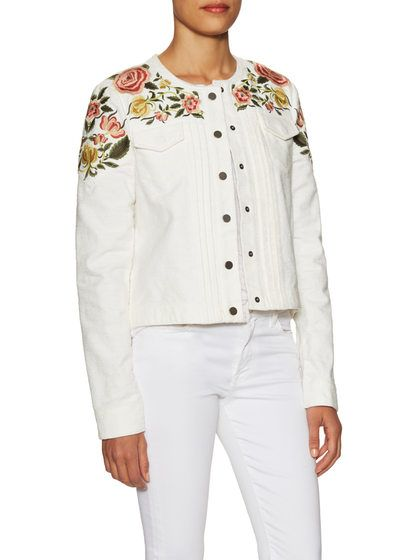 Kristopher Cotton Embroidered Jacket by BCBGMAXAZRIA at Gilt