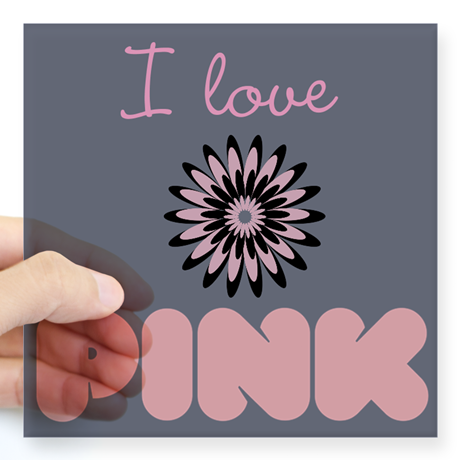 Custom I Love Pink Floral Lavender Sticker, editable text, for personalized gifts, decor.