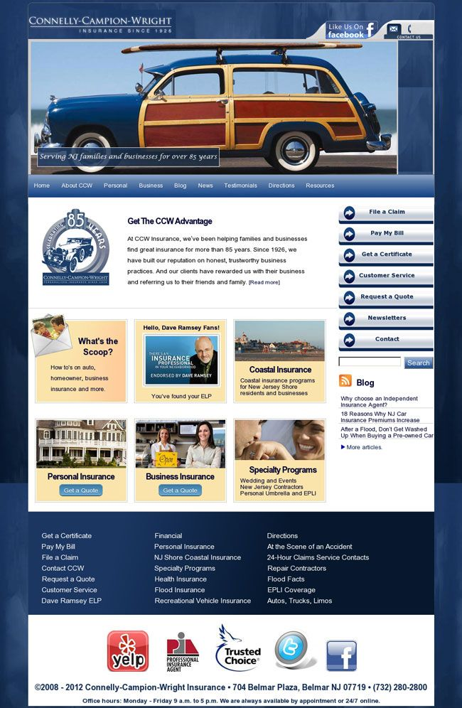 Connelly-Campion-Wright Insurance Agency, Belmar, New Jersey responsive web design site built in WordPress. Specialties include coastal insurance for New Jersey Shore residents and businesses.