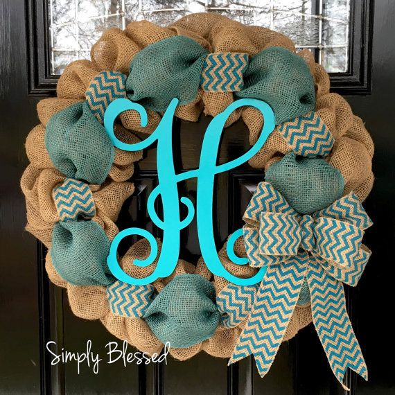 Teal Chevron Burlap Wreath 22 Inch Front Door By Simplyblessedgift Chevron Burlap Wreaths Burlap Wreath Wreath Crafts