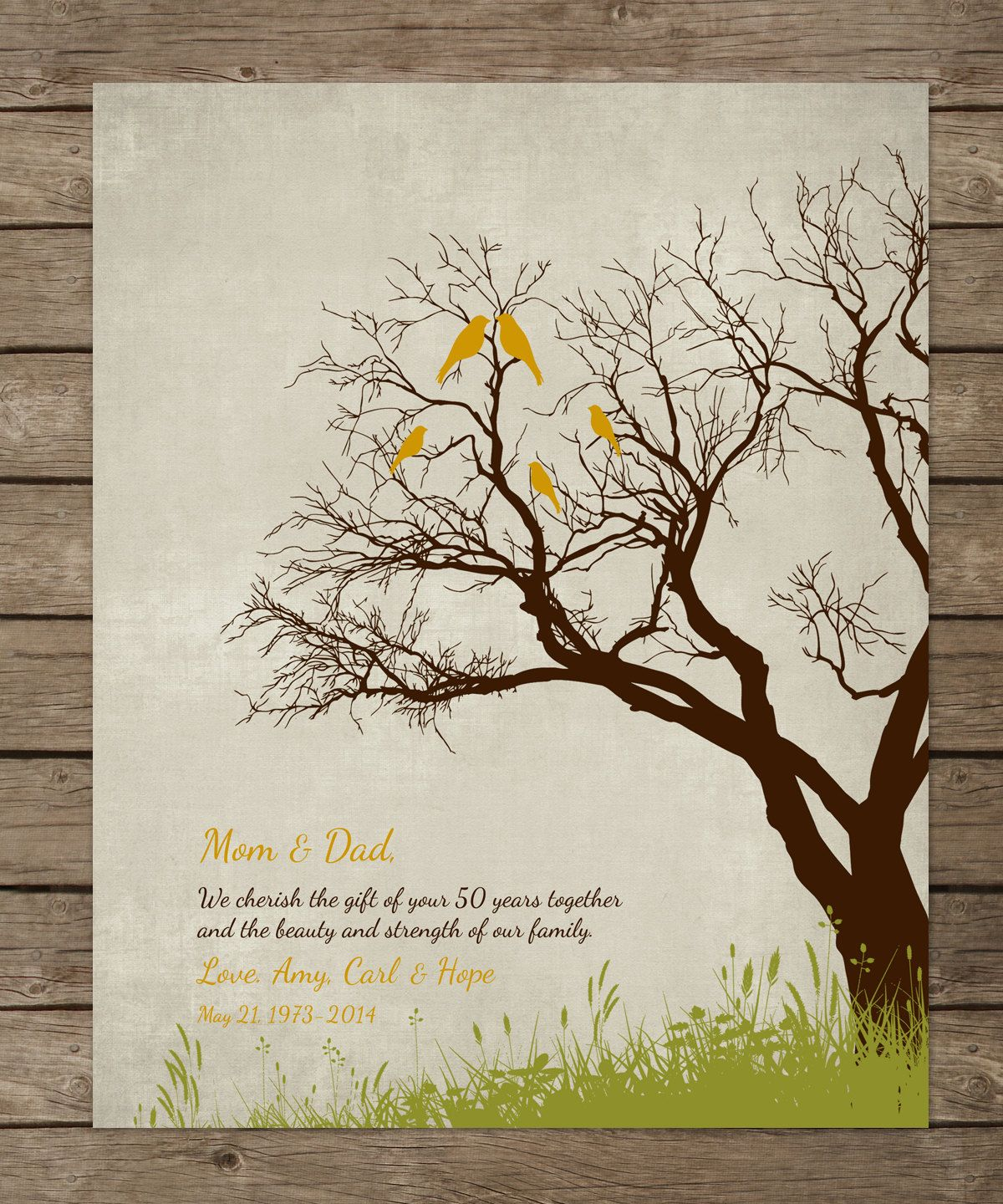 50th Anniversary Gift For Parents 50th Golden By Wordsworkprints
