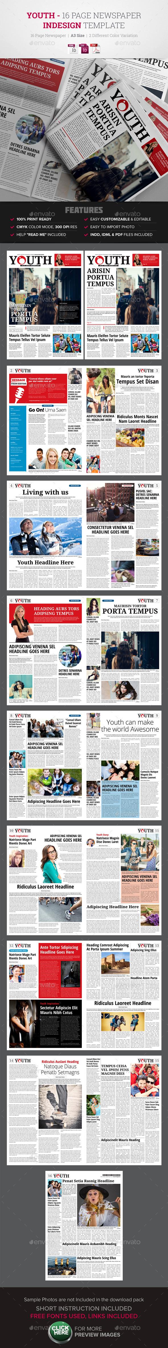 16 Page Newspaper InDesign v1