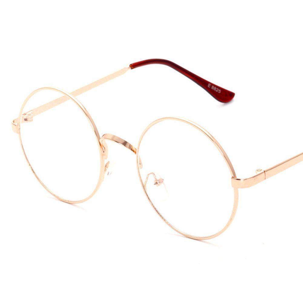 36481d1c3f4 Lovef Large Oversized Metal Frame Clear Lens Round Circle Vintage Eye  Glasses 5.42inch (Rose