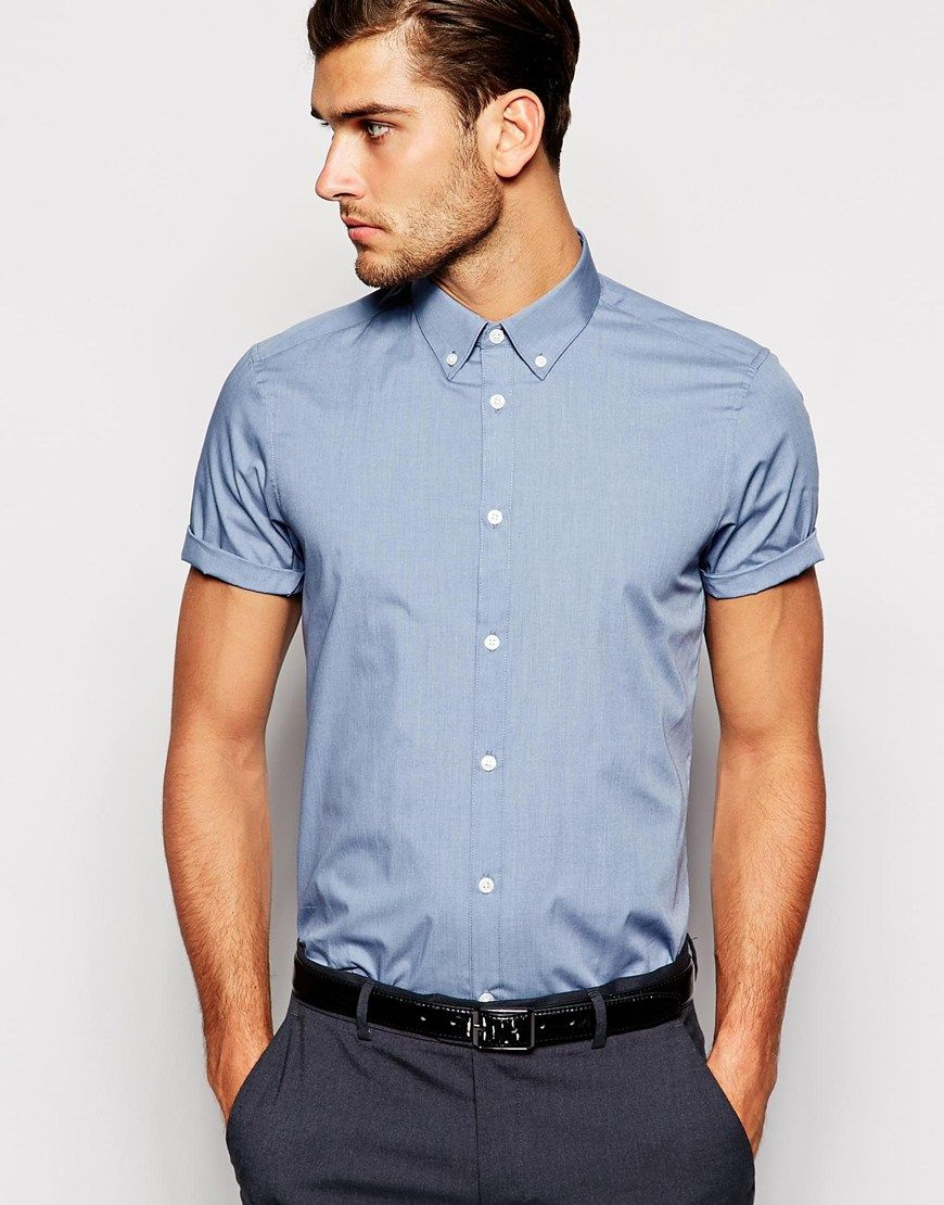 asos--smart-shirt-in-short-sleeve-with-button-down-collar-product ...