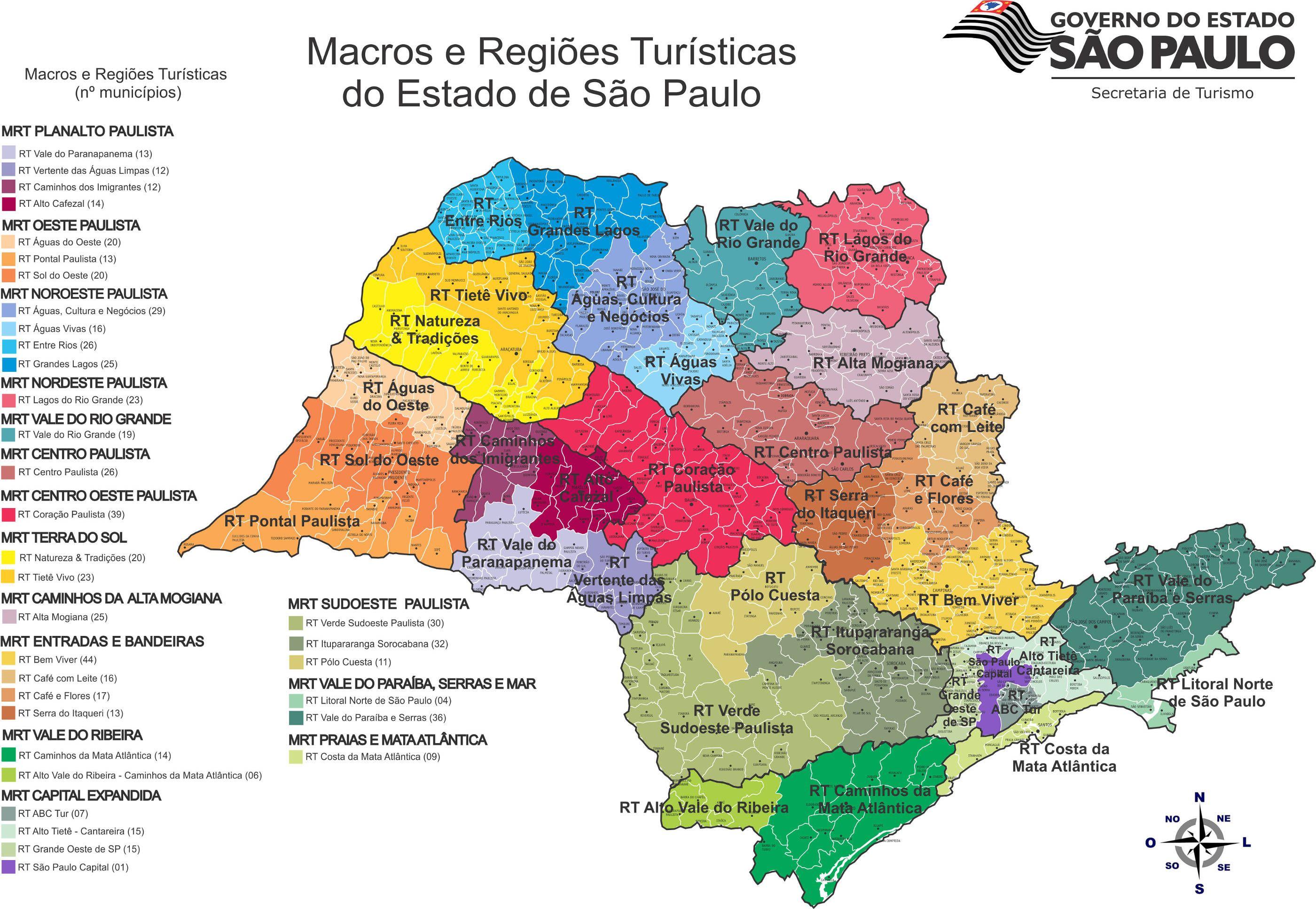 Mapa De Localização De Pontos De Vetor Localização De: Mapa Com A Localização Das Regiões Turísticas Do