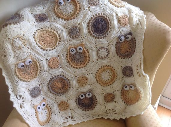 Handmade Crochet owl baby blanket - Creams / baby throw / pram ...