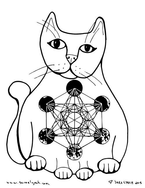 Metatron's Cube And Moon Cycle Kitty Crystal Grid Coloring
