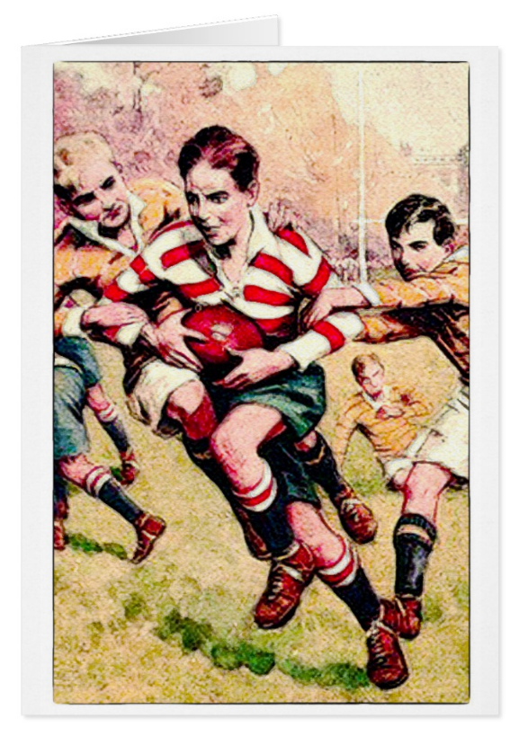Vintage 1900 S Rugby Greeting Card Zazzle Com In 2020 Rugby Art Rugby Printing Double Sided
