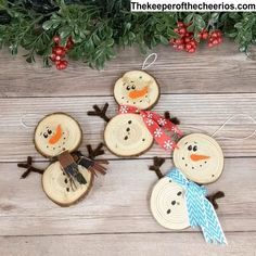 Wood Slice Snowman Ornaments - The Keeper of the C