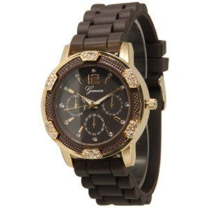 Geneva Brown with Gold Women's Faux Chronograph Silicone Rubber Jelly Watch with CZ Crystal Rhinestones Face Bling Bezel-BrownGold