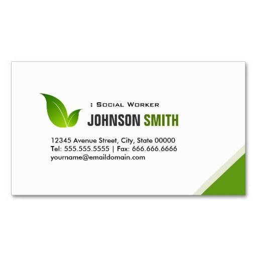 Social Worker Elegant Modern Green Standard Business Card - Standard business card template
